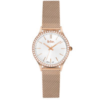 Lee Cooper Women's Analog Rose Gold Case Rose Gold Super Metal Strap Silver Dial -LC06304.430