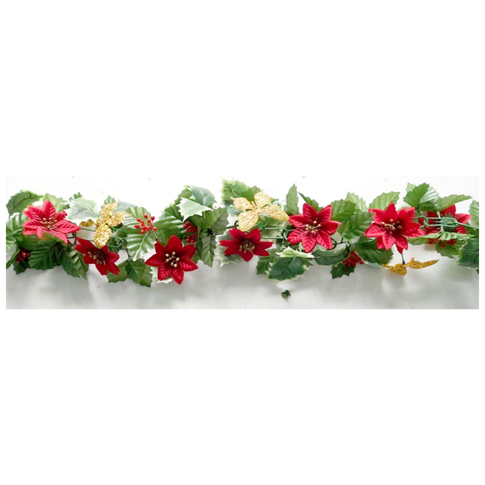 CHAMDOL RED FLOWER W/LEAF GARLAND