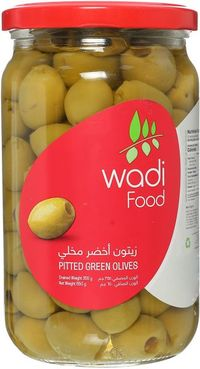 W.FOOD PITTED GREEN OLIVES  650G