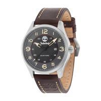 Timberland Men's Watch Farmington Analog Grey Dial Dark Brown Leather Band 44mm Case