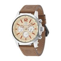 Timberland Men's Watch Wingate Analog Beige Dial Light Brown Leather Band 48mm Case