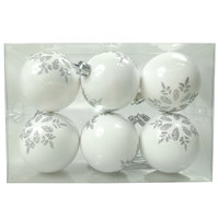 Balls Set 6 6Cm Flakes Painted Pvc White