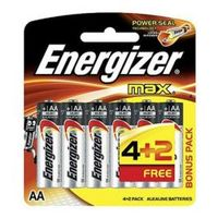 Energizer Max Powerseal Battery AA E91 4 Pieces + 2 Free
