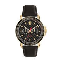 Scuderia Ferrari Men's Watch Turbo Analog Black Dial Black Leather Band 42mm Case