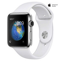 Apple Watch Series-2 42mm Stainless Steel  Case With White Sport Band