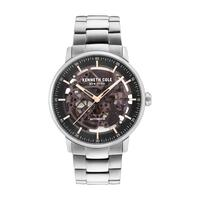 Kenneth Cole Men's Watch Automatic Analog Black Dial Silver Stainless Steel Band 42mm Silver Case