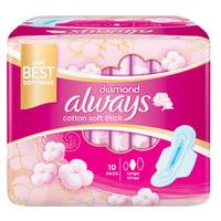 Always Premium soft Maxi Thick, Large sanitary pads with wings, 10 count