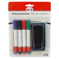 First 1 White Board Markers 4Pc + Duster