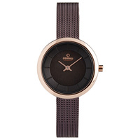 Obaku Women's Watch V146 Analog Brown Dial Brown Mesh Band 27mm Rose Gold Case