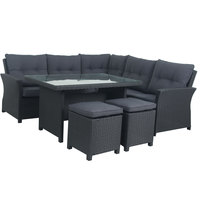 Zeina Highback Wicker Corner Set 5Pcs With Cushions (Delivered within 7 business days)