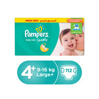 Pampers Baby-Dry Diapers Size 4+ Maxi Plus 9-16 kg Mega Box 112 Count