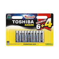 Toshiba Alkaline Blue AAA 10 Batteries 6 + 4 Free
