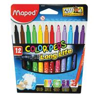 Maped Color Peps Longlife Felt Tip Pens In Zipped Clear Pencil 1X12