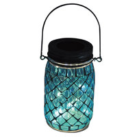 Carrefour Solar Led Glass Jar Blue