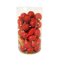 Plain Plated Balls Red Set Of 60 Pcs