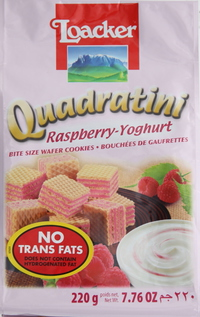 Loacker Quadratini Raspberry Yoghurt Wafers 220g