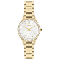 Lee Cooper Women's Analog Gold Case Gold Super Metal Strap Silver Dial -LC06303.130