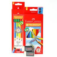 Faber-Castell Juniour Triangular Colour Pencil 10'S+Juniour Trangular Black Lead Pencil 12'S+Pvc Free Erasers-2Pcs
