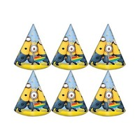 Despicable Me Lovely Minions Cone Shaped Birthday Party Hats 6 Pieces
