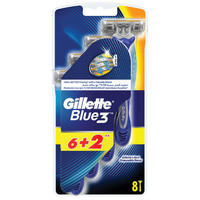 Gillette Blue3 Men's Disposable Razors, 6+2 count