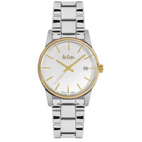 Lee Cooper Women's Analog Silver Case Silver Super Metal Strap White Dial -LC06347.132