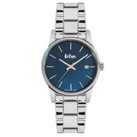 Lee Cooper Women's Analog Silver Case Silver Super Metal Strap Blue Dial -LC06346.390