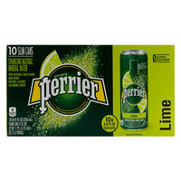 Perrier Water Lime Sparkling Natural Mineral Water Slim Can 250mlx10