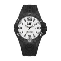 CAT Men's Watch Karbon Analog White Dial Black Silicon Band 45.5mm  Case