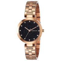 Giordano Women's Watch Analog Display Black Dial Rose Gold Stainless Steel Bracelet - 2784-33