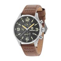 Timberland Men's Watch Rutherford Analog Black Dial Brown Leather Band 45mm Case