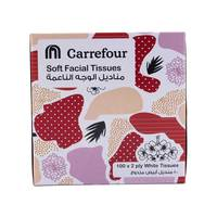 Carrefour Soft Facial Tissues Economic Pink Cube 100s