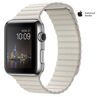 Apple Watch Series 1 42mm Stainless Steel Case With White Leather Loop Large
