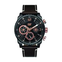 CAT Men's Watch Mossville Multi Analog Black/Rose G Dial Black Leather Band 45mm  Case