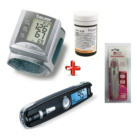Beurer-Blood-Pressure-Monitor-BC20-+-Gluco-Monitor-GL50-+-25-Strips+-Mabis-Thermometer