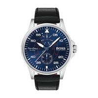 Hugo Boss Men's Watch Aviator Analog Blue Dial Black Leather Band 44mm  Case