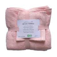 1 Pc Bath Towel+ 2 Pc Hand Towel+2 Pc Face Towel Pink