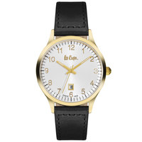 Lee Cooper Men's Analog Gold Case Black Leather Strap Silver Dial -LC06296.131
