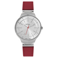 Lee Cooper Women's Analog Silver Case Red Leather Strap Silver Dial -LC06337.338