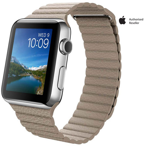 Apple-Watch-Series-1-42mm-Stainless-Steel-Case-With-Stone-Leather-Loop---Medium