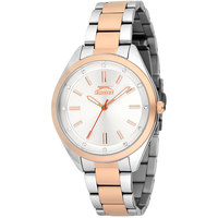 Slazenger Women's Analog Display Silver Dial TT Rose Gold Stainless Steel Bracelet - SL.9.6044.3.01