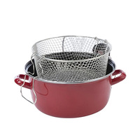 Cocotte Friteuse Deep Fryer Red Metal 26CM