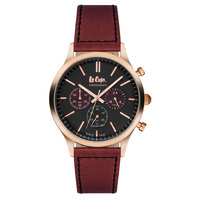 Lee Cooper Men's Chronograph Rose Gold Case Maroon Leather Strap Black Dial -LC06294.590