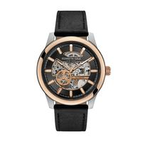 Kenneth Cole Men's Watch Automatic Analog Gun Dial Black Leather Band 44mm TT Silver/Rose Gold Case