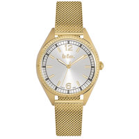 Lee Cooper Women's Analog Gold Case Gold Super Metal Strap Silver Dial -LC06320.130