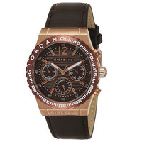 Giordano Men's Watch Multi Function Display Brown Dial Brown Genuine Leather Strap - 1757-05