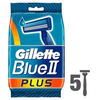 Gillette Blue II Plus Menaetms Disposable Razors, 5 count