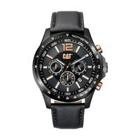 CAT Men's Watch Boston Chrono Analog Black Dial Black Leather Band 44mm  Case