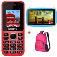 iBrit B1 Dual Sim Red + Kids Tablet + Backpack Bag
