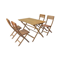 Acacia Wooden Foldable Dinning Set Of 5 Pieces