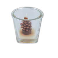 Christmas Pine Cone Candle in Jar 7x6cm